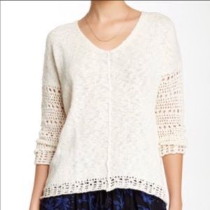 Lucky Brand V-Neck Textured Sweater Sz Large